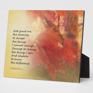 Serenity Prayer Maple Leaves Orange Plaque