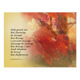 Serenity Prayer Maple Leaves Orange Postcard