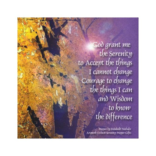 Serenity Prayer Maple Wrapped Canvas Gallery Wrapped Canvas