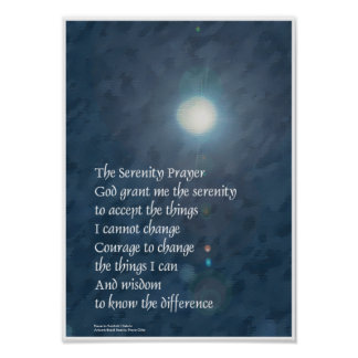 Serenity Prayer Moon Poster