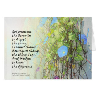 Serenity Prayer Morning Glories and Fence Card