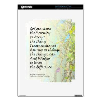 Serenity Prayer Morning Glories and Fence Decals For iPad 2