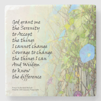 Serenity Prayer Morning Glories and Fence Stone Coaster