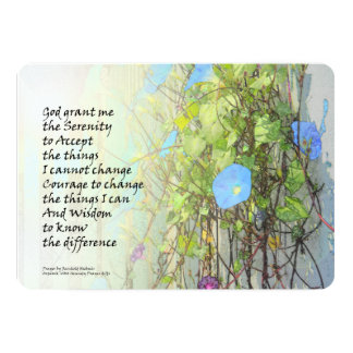 Serenity Prayer Morning Glories and Fence 5x7 Paper Invitation Card