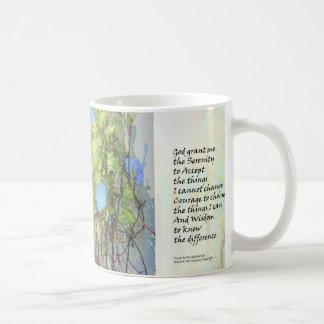 Serenity Prayer Morning Glories and Fence Mugs