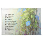 Serenity Prayer Morning Glories and Fence Placemats