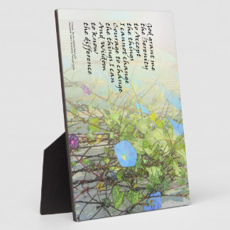Serenity Prayer Morning Glories and Fence Photo Plaques