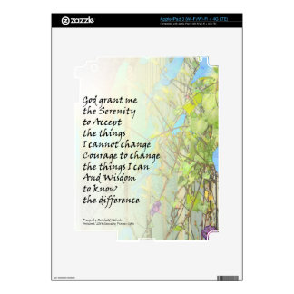 Serenity Prayer Morning Glories and Fence Skin For iPad 3