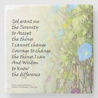 Serenity Prayer Morning Glories and Fence Stone Coaster