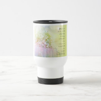 Serenity Prayer Morning Glories Fence Travel Mug