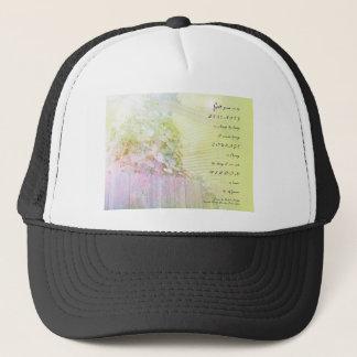 Serenity Prayer Morning Glories Fence Trucker Hat