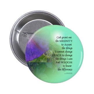 Serenity Prayer Morning Glory Collage Button