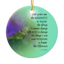 Serenity Prayer Morning Glory Collage Ceramic Ornament