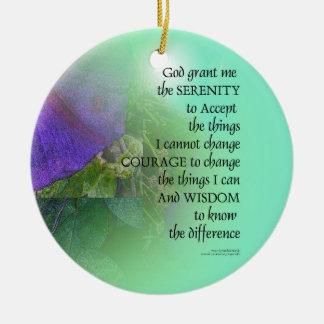Serenity Prayer Morning Glory Collage Ceramic Ornament