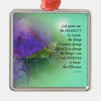 Serenity Prayer Morning Glory Collage Metal Ornament