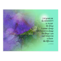 Serenity Prayer Morning Glory Collage Postcard