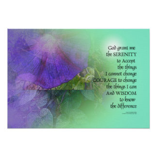 Serenity Prayer Morning Glory Collage Poster