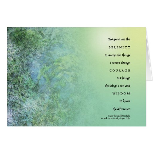 Serenity Prayer Moss on Rocks Greeting Card