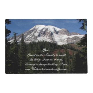 Serenity Prayer Mount Rainier Photo Placemat