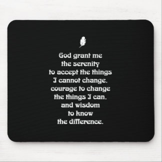 Serenity Prayer Nouveau White Tiny Feather Mouse Pad