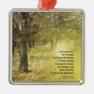 Serenity Prayer Oak Grove Metal Ornament
