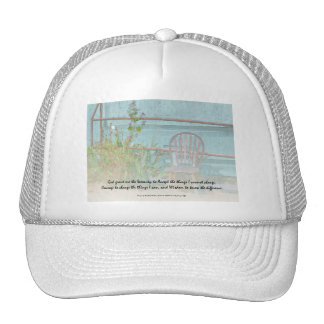 Serenity Prayer Old Chair and Flowers Hats