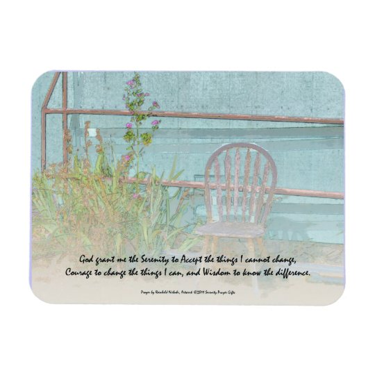 Serenity Prayer Old Chair and Flowers Magnet