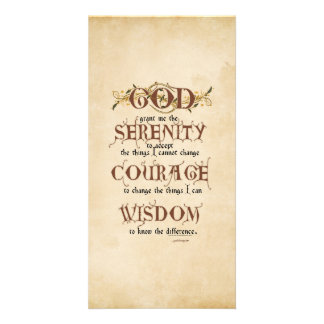 Serenity Prayer: Old English Antique, Recovery Card