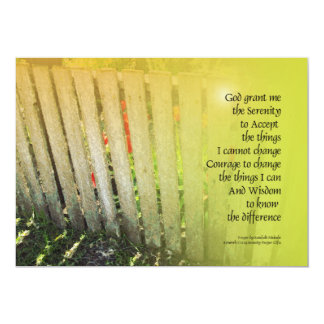 Serenity Prayer Old Fence and Red Tulips 5x7 Paper Invitation Card