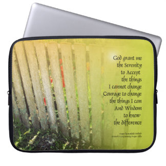 Serenity Prayer Old Fence Red Tulips Laptop Computer Sleeves