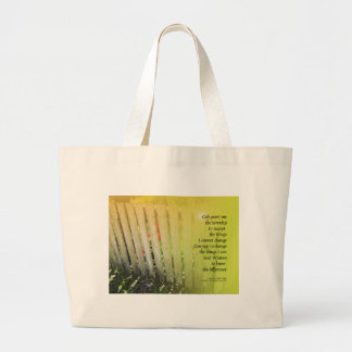 Serenity Prayer Old Fence Red Tulips Large Tote Bag