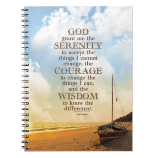 Serenity Prayer: Old Sailboat on Beach, Recovery Spiral Notebook