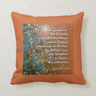 Serenity Prayer Orange and Blue American MoJo Pill Throw Pillows