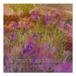 Serenity Prayer Orange Pink Flowers Poster