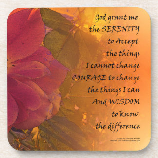 Serenity Prayer Orange Pink Rose Beverage Coaster