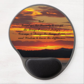 Serenity Prayer Orange Sunset Photo Gel Mouse Pad