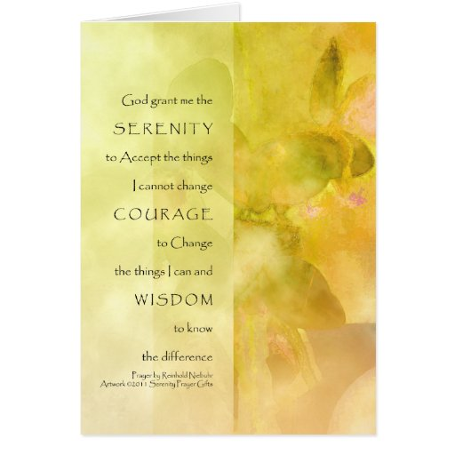 Serenity Prayer Orchids Yellow Green Card