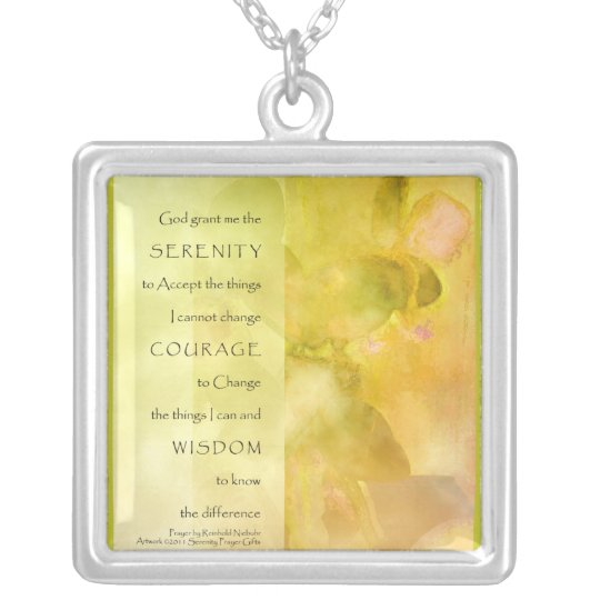 Serenity Prayer Orchids Yellow Green Necklace
