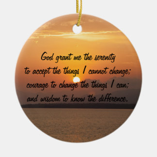 Serenity Prayer Double-Sided Ceramic Round Christmas Ornament