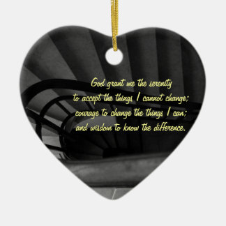 Serenity Prayer Double-Sided Heart Ceramic Christmas Ornament