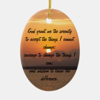 Serenity Prayer Double-Sided Oval Ceramic Christmas Ornament