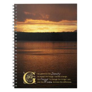 Serenity Prayer Over Sunset Journal Notebook