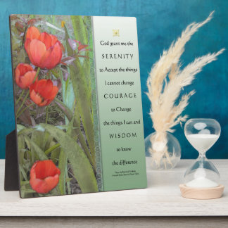 Serenity Prayer Panel Red Tulips Plaque