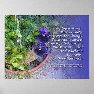 Serenity Prayer Pansies Blue Poster