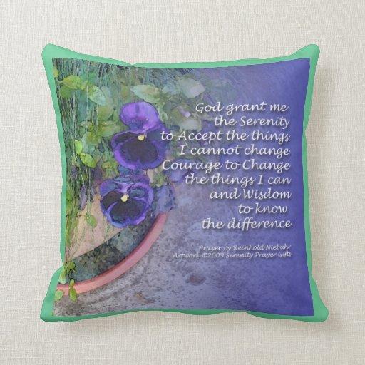 Serenity Prayer Pansy American MoJo Pillow
