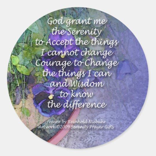 Serenity Prayer Pansy Blue Classic Round Sticker