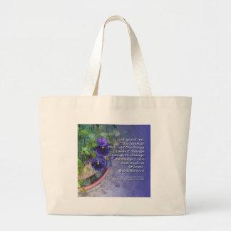 Serenity Prayer Pansy Blue Large Tote Bag