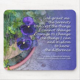 Serenity Prayer Pansy Blue Mouse Pad