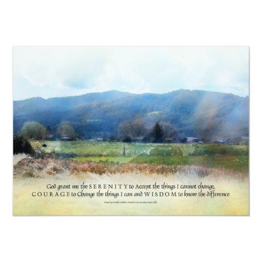 "Serenity Prayer Pastures Invitation 5"" X 7"" Invitation Card"
