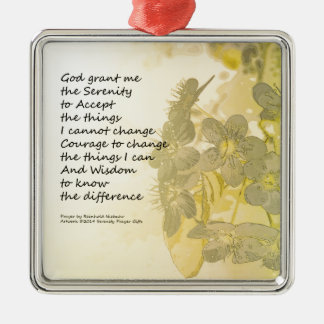 Serenity Prayer Pear Blossoms Two Metal Ornament